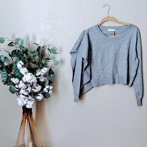 Zara Knit Gray Cropped Aysemmetrical Sweater Sz M